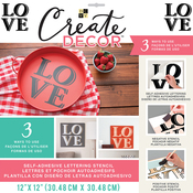 "Block Love-Black - DCWV Create Decor Self-Adhesive Lettering & Stencil 12""X12"""