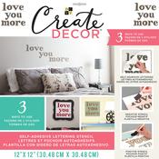 "Love You More-Brown - DCWV Create Decor Self-Adhesive Lettering & Stencil 12""X12"""