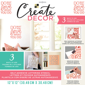 "Do What You Love, Love What You Do-Pink - DCWV Create Decor Self-Adhesive Lettering & Stencil 12""X12"