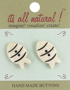 """Cute Fish 1-1/4"""" 2/Pkg - Handmade Bone Buttons"""