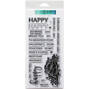 """Happy Words - Concord & 9th Clear Stamps 4""""X8"""""""