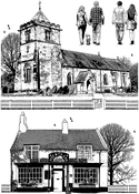 "The Village Inn & Church - Crafty Individuals Unmounted Rubber Stamp 3.75""X5.5"" Pkg"