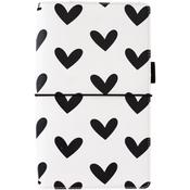 "Black & White Hearts - Freckled Fawn Pocket Traveler's Notebook 9""X5.75"""