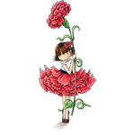 """Garden Girl Carnation - Stamping Bella Tiny Townie Cling Stamp 6.5""""X4.5"""""""