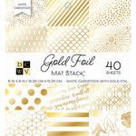 "White W/Gold Foil - DCWV Cardstock Stack 6""X6"""