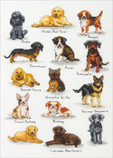 """10""""X14"""" 14 Count - Dog Sampler Counted Cross Stitch Kit"""