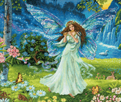 """14""""X12"""" 16 Count - Gold Collection Spring Fairy Counted Cross Stitch Kit"""