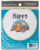 "4"" 14 Count - Happy Camper Mini Counted Cross Stitch Kit"