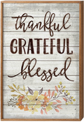 "Thankful, Grateful, Blessed - American Woodcrafters 16""X24"" Framed Wood Sign"