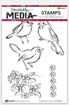 "Sribbly Bird Cousins - Dina Wakley Media Cling Stamps 6""X9"""