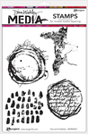 """Text & Scribbles - Dina Wakley Media Cling Stamps 6""""X9"""""""