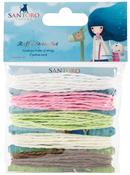 White, Cream, Pink, Green, Brown/2m Each - Santoro Kori Kumi II Raffia String 5/Pkg