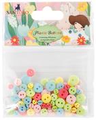 Assorted Colors; 11mm, 8mm, 5mm - Santoro Kori Kumi II Mini Plastic Buttons 100/Pkg