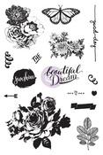 Zella Teal Cling Stamps - Prima