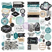 Zella Teal Chipboard Shapes - Prima