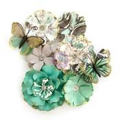 Butterfly Kisses Flowers - Zella Teal - Prima
