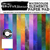 "Watercolor Elements, 12 Designs/2ea - Brutus Monroe Single-Sided Paper Pad 6""X6"" 24/Pkg"