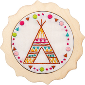"4"" Round - My 1st Stitch Tee Pee Mini Stamped Embroidery Kit"