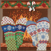 """5""""X5"""" 14 Count - Cozy Feet Buttons & Beads Counted Cross Stitch Kit"""