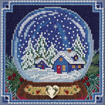 """5""""X5"""" 14 Count - Snow Globe Buttons & Beads Counted Cross Stitch Kit"""