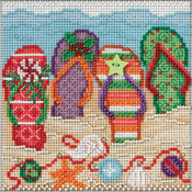 """5""""X5"""" 14 Count - Holiday Flip Flops Buttons & Beads Counted Cross Stitch Kit"""