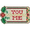 3.5 X2.25  14 Count - Gift Tag Counted Cross Stitch Kit Make a beautiful holiday decoration with this cross stitch kit! This package contains glass beads, treasures, 14 count perforated or painted perforated paper, floss, needles, magnet and chart. Design: Gift Tag. Finished size: 3.5x2.25 inches. Recommended for ages 9 and up. Made in USA.