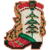 "2.5""X3"" 14 Count - Holiday Boot Counted Cross Stitch Kit"