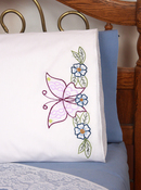 "Floral Design - Stamped Perle Edge Pillowcases 30""X20"" 2/Pkg"