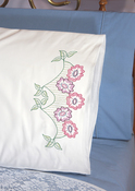 "Floral Border - Stamped Perle Edge Pillowcases 30""X20"" 2/Pkg"