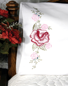 "Red Rose - Stamped Perle Edge Pillowcases 30""X20"" 2/Pkg"