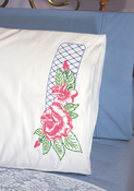 "Rose Lattice - Stamped Perle Edge Pillowcases 30""X20"" 2/Pkg"
