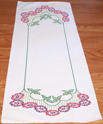 "Border Flower - Stamped Perle Edge Dresser Scarf 15""X42"""
