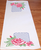 "Rose Lattice - Stamped Perle Edge Dresser Scarf 15""X42"""