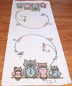 "Owl Family - Stamped Perle Edge Table Runner 15""X42"""