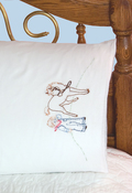 "Girl W/ Puppy - Stamped Perle Edge Pillowcases 30""X20"" 2/Pkg"