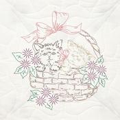 """Kittens In Basket - Stamped Quilt Blocks 18""""X18"""" 6/Pkg"""