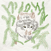 """Wolf - Stamped Quilt Blocks 18""""X18"""" 6/Pkg"""