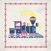 "Train - Stamped Quilt Blocks 18""X18"" 6/Pkg"