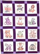 "Stuffed Animal - Stamped Baby Quilt Blocks 9""X9"" 12/Pkg"