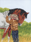 """9""""X12"""" 14 Count - Horse Crazy Counted Cross Stitch Kit"""
