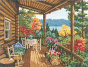 """16""""X12"""" 14 Count - Log Cabin Covered Porch Counted Cross Stitch Kit"""