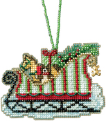 "3.5""X2.25"" 14 Count - Toyland Sleigh Counted Cross Stitch Kit"
