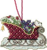 "3.5""X2.5"" 14 Count - Evergreen Sleigh Counted Cross Stitch Kit"
