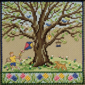 """5.25""""X5.25"""" 14 Count - Spring Oak Counted Cross Stitch Kit"""