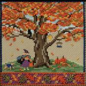 "5.25""X5.25"" 14 Count - Fall Oak Counted Cross Stitch Kit"