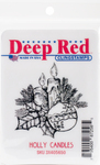 """Holly Candles - Deep Red Cling Stamp 2""""X2.1"""""""