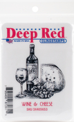 "Wine & Cheese - Deep Red Cling Stamp 2""X2.1"""