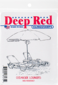 "Oceanside Loungers - Deep Red Cling Stamp 3""X3"""