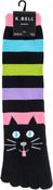 Cat Stripe - Novelty Crew Toe Socks