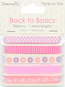Perfectly Pink - Dovecraft Back To Basics Ribbon Pack 5/Pkg